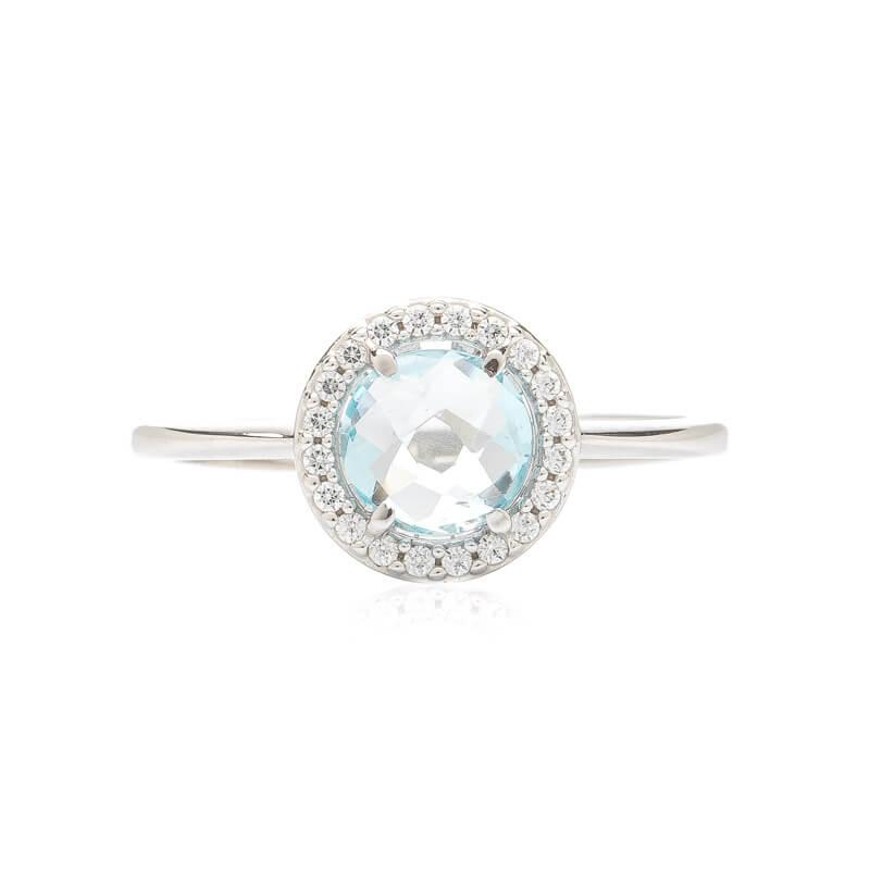 64924282f Prsten z bílého zlata s topazem a zirkony