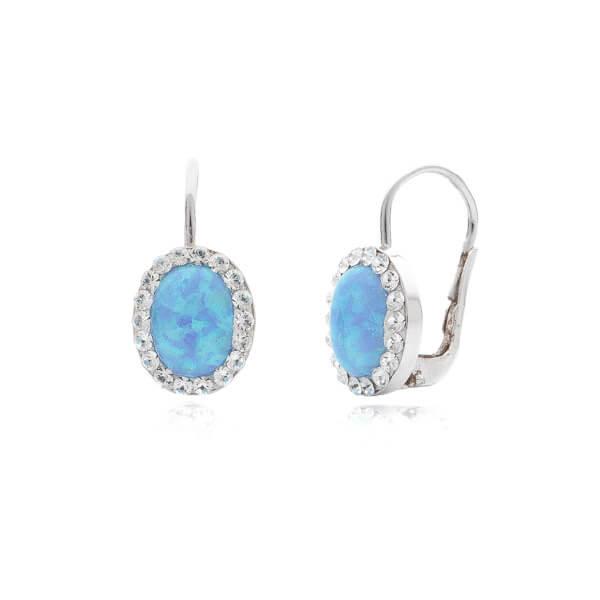 8c71508cf stříbrné náušnice se modrým opálem a Swarovski kameny