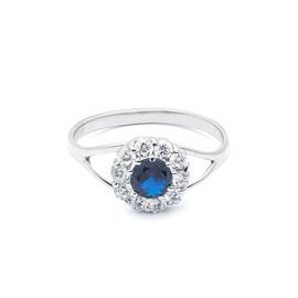 stříbrný prsten se zirkonem v barvě safíru