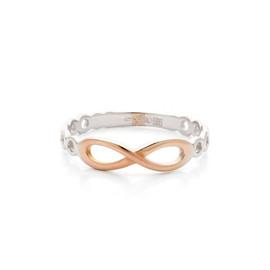 Prsten z bílého zlata s růžovým nekonečno
