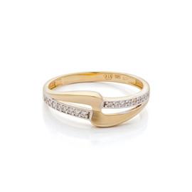 Zlatý prsten bicolor se zirkony