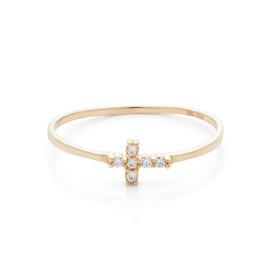 Zlatý prsten s křížkem se zirkony