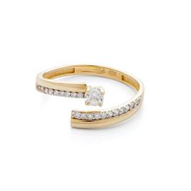 Otevřený zlatý prsten se zirkony