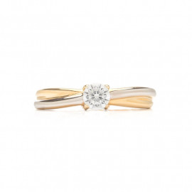 Zlatý prsten bicolor se zirkonem