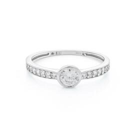Zásnubní prsten z bílého zlata se zirkony