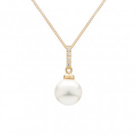 Zlatý náhrdelník s pravou perlou a zirkony