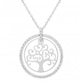 Náhrdelník strom života z bílého zlata se zirkony