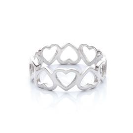 stříbrný prsten se srdíčky