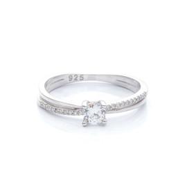 stříbrný zásnubní prsten se zirkony
