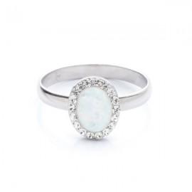 stříbrný prsten s opálem a Swarovski kameny