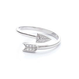 stříbrný prsten šíp se zirkony