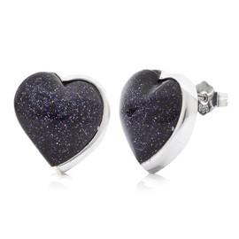 stříbrné náušnice srdíčka s kamenem blue sand