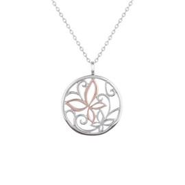 stříbrný přívěsek s růžovým motýlem