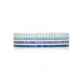 Prsten z bílého zlata s barevnými zirkony