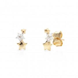 Zlaté náušnice hvězdičky se zirkony