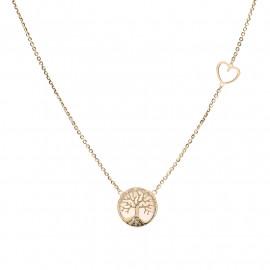 zlatý náhrdelník se stromem života a srdíčkem