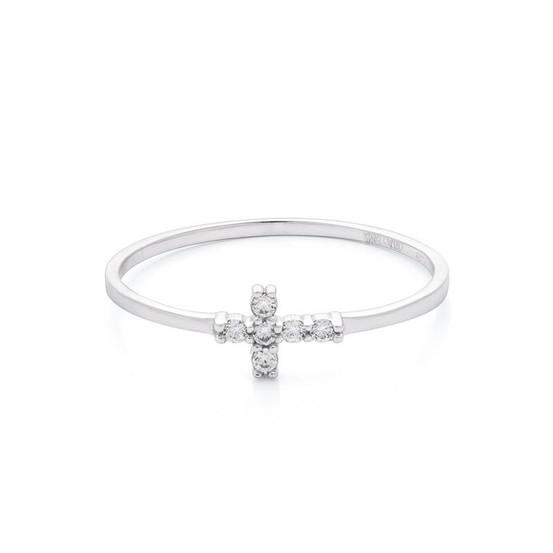 Prsten z bílého zlata s křížkem se zirkony