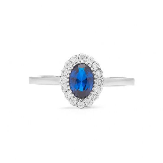 Prsten z bílého zlata se safírem a zirkony