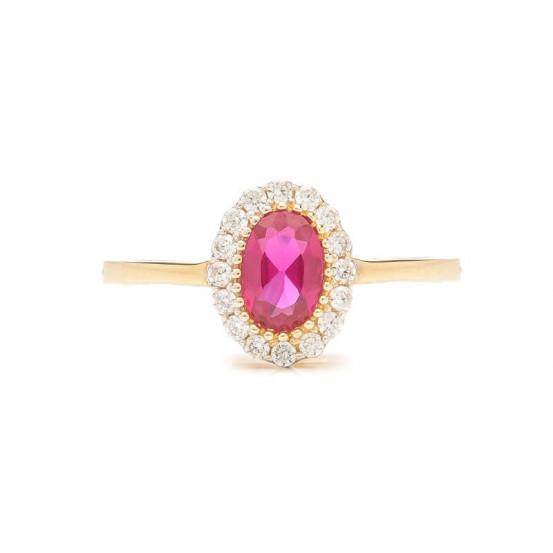 Zlatý prsten s rubínem a zirkony