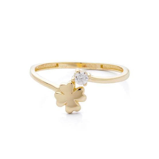 Zlatý prsten se čtyřlístkem a zirkonem