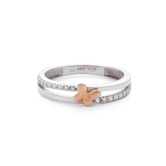 Prsten z bílého zlata se zirkony a růžovým motýlkem