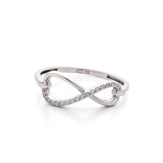 Prsten z bílého zlata nekonečno se zirkony