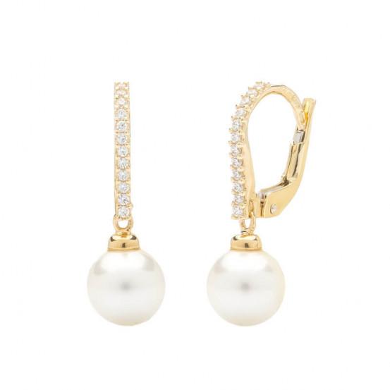 Zlaté náušnice s pravou perlou a zirkony