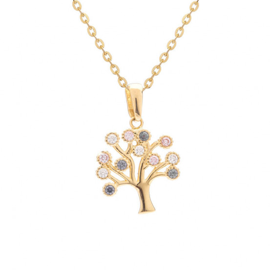 Zlatý strom života s barevnými zirkony