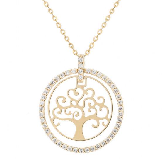 Zlatý náhrdelník strom života se zirkony
