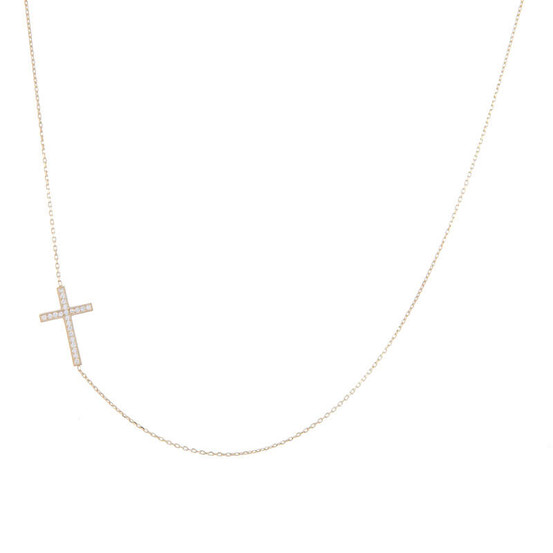 Zlatý náhrdelník s křížkem se zirkony