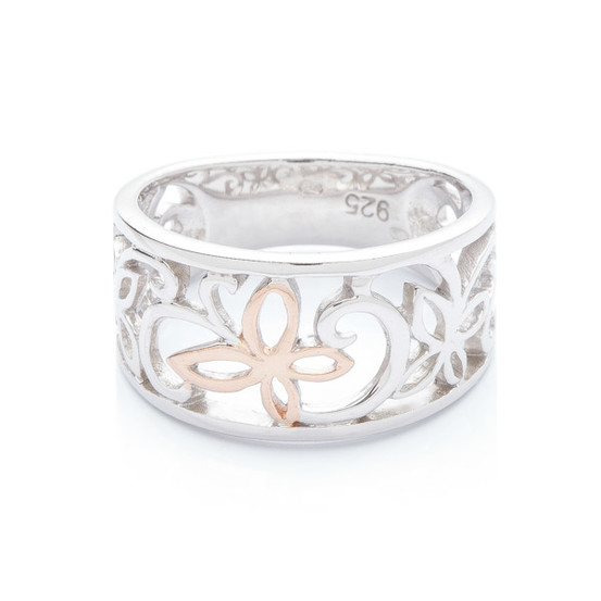 stříbrný prsten s růžovým motýlem