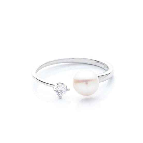 otevřený stříbrný prsten s perlou a zirkonem
