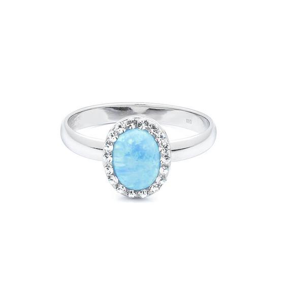 stříbrný prsten s modrým opálem a Swarovski kameny