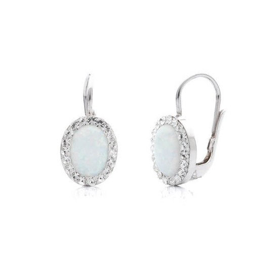 stříbrné náušnice s opálem a Swarovski kameny
