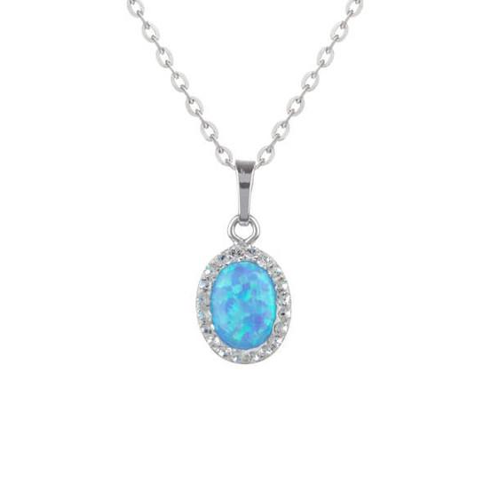 stříbrný přívěsek s modrým opálem a Swarovski kameny
