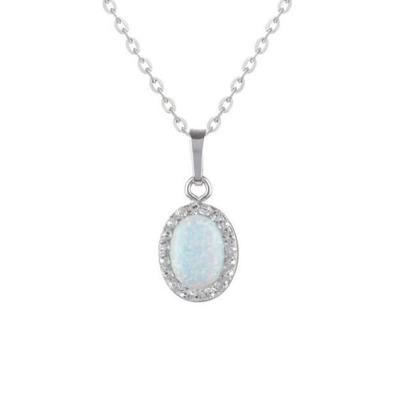 stříbrný přívěsek s opálem a Swarovski kameny