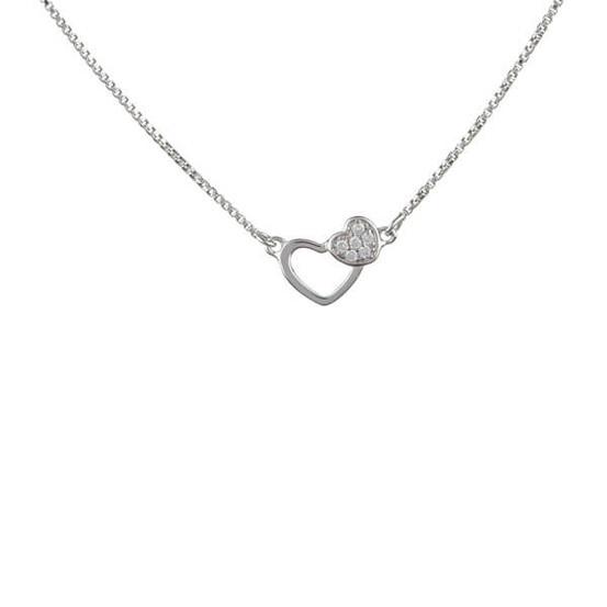 stříbrný náhrdelník se srdíčky a zirkony