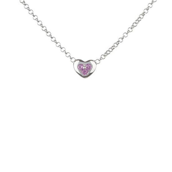 stříbrný náhrdelník s srdcem a růžovými zirkony