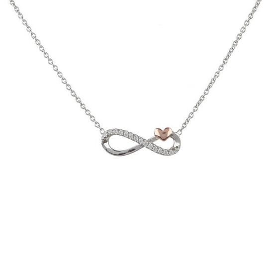stříbrný náhrdelník s nekonečno a růžovým srdíčkem