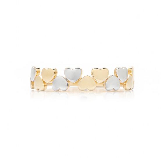 zlatý prsten se srdíčky bicolor