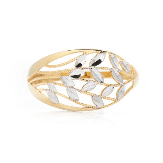 zlatý prsten s lístky bicolor