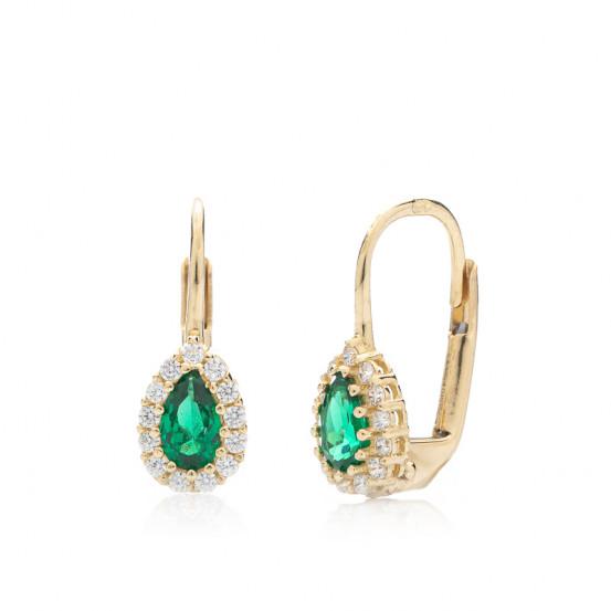 zlaté náušnice se smaragdy a zirkony