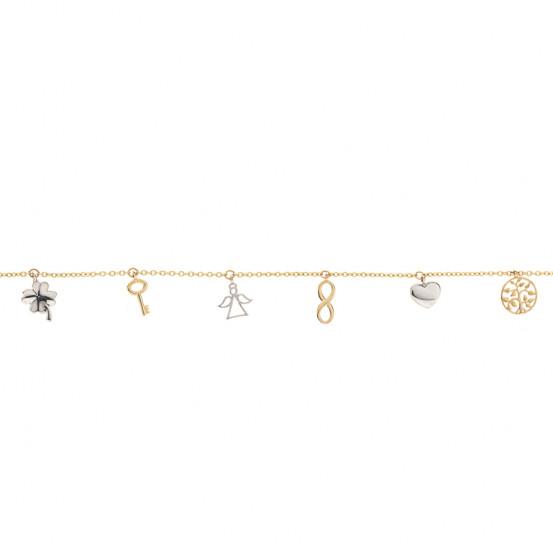zlatý náramek se stromem života, srdíčkem, nekonečno, andělíčkem, klíčem a čtyřlístkem