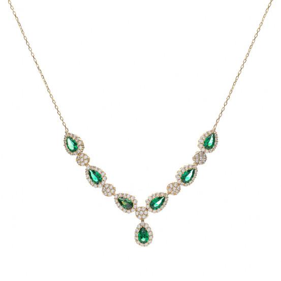 zlatý náhrdelník se smaragdy a zirkony