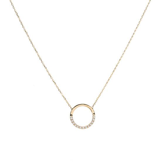 zlatý náhrdelník s kroužkem a zirkony